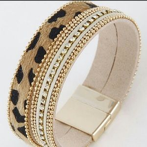 Unique Leopard Faux Fur, Stud & Crystal Bracelet
